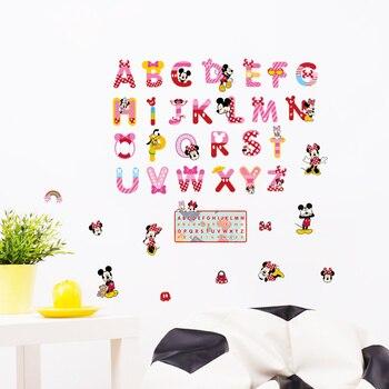 Minnie Mickey Mouse alfabeto letras en inglés pegatinas para la pared del cuarto de niños arte de pared Diy habitación de los niños dormitorio decoración del hogar pegatinas de animales