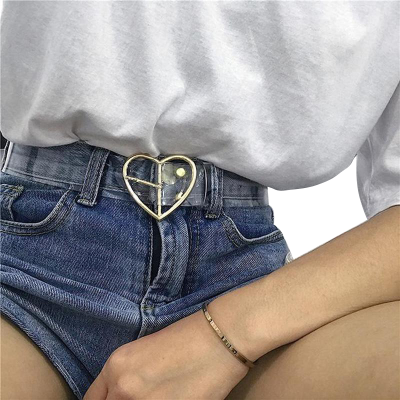 Heart Belts For Women Resin Cute Transparent Belt Jeans Dress Waist Strap Pin Buckle Harajuku Ladies Round PVC Clear Belt 122(China)