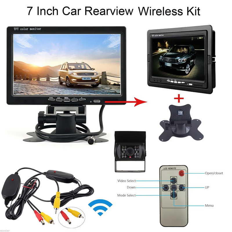 7 inch TFT LCD Car Rear view Parking Monitor + 12V / 24V Auto Rearview Backup Reverse Camera + Wireless Transmitter Receiver Kit 7 inch tft lcd color auto car monitor 2 video input car rear view parking monitor wireless 10 ir car rear view reverse camera