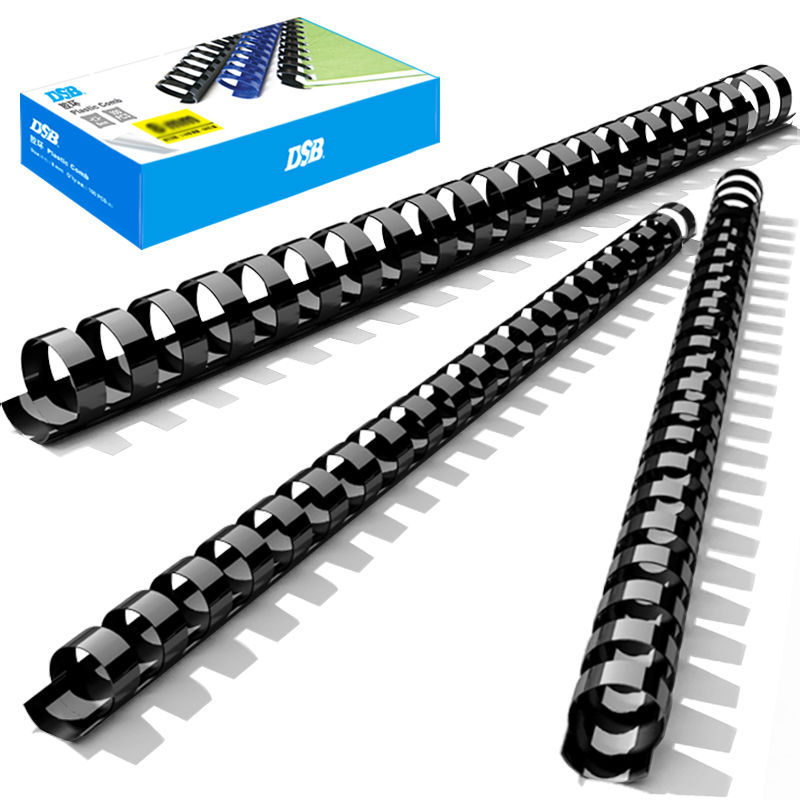 DSB Plastic Comb Binding Spines, 10 Mm Diameter, Black