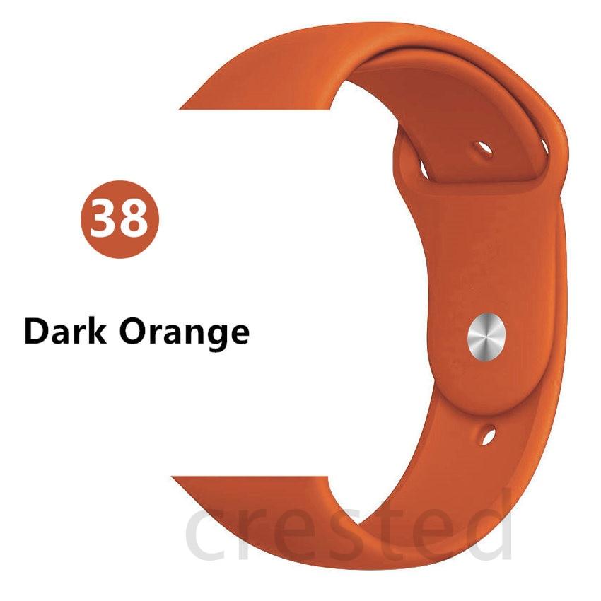 Силиконовый ремешок для apple watch 4 5 44 мм/40 мм спортивный ремешки для apple watch 3 42 мм/38 мм резиновый ремень браслет ремешок для часов apple watch Band Мягкий красочный ремешок iwatch series 4 3 2 1 - Цвет ремешка: Dark orange