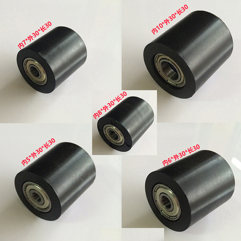 Sliding diameter 30mm Length 30mm Black PU Material Nylon Roller/wheels With Two Bearing Bore 5mm 6mm 7mm 8mm 10mm  6pcs/lost