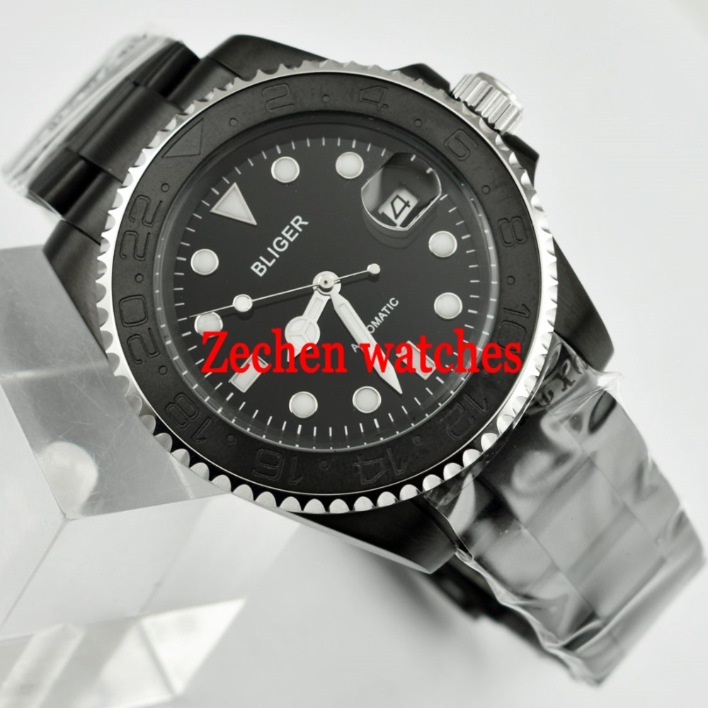 BLIGER 40mm Ceramic Bezel Luminous Sapphire Automatic Steel Bands Men Watch