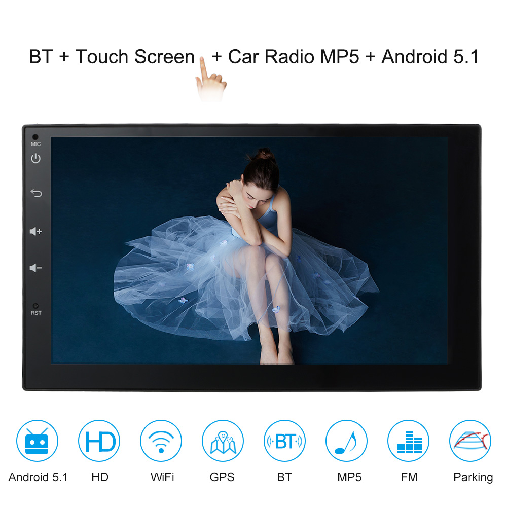 KKmoon 2 Din HD Touch Screen Car Stereo Radio Player GPS Navigation Multimedia Entertainment System WiFi BT AM/FM Android 5.1 kkmoon 2 din hd touch screen car stereo radio player gps navigation multimedia entertainment system wifi bt am fm android 5 1