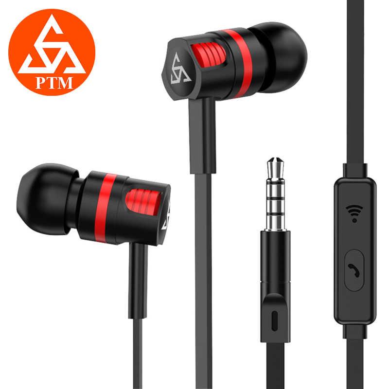 PTM KG5 3.5 مللي متر في الأذن سماعة مع مايكروفون الثقيلة باس الأزياء سماعات موسيقى سماعة الألعاب للهاتف فون سامسونج Xiaomi