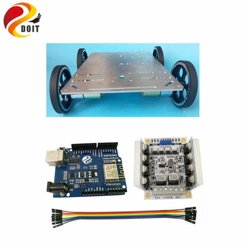 DOIT C600 4WD Smart Car Chassis with Metal Wheel+Arduino Development Board+Big Power Drive Board fast free ship for gameduino for arduino game vga game development board fpga with serial port verilog code