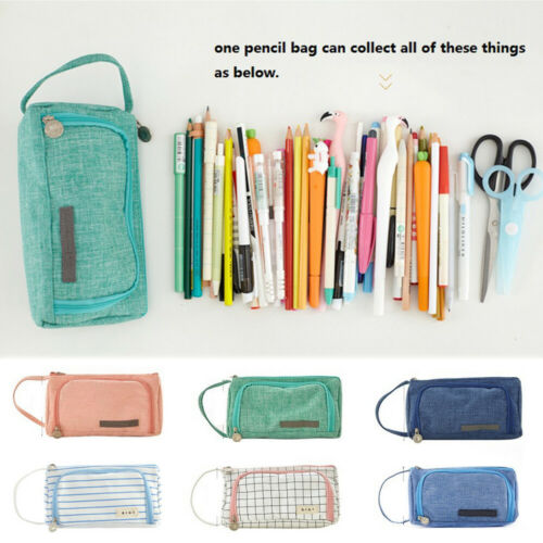 2019 Newest Large Capacity Double Zip Pen Pencil Case School Stationery Cosmetic Bag Gift Home Office Storage in Home Office Storage from Home Garden