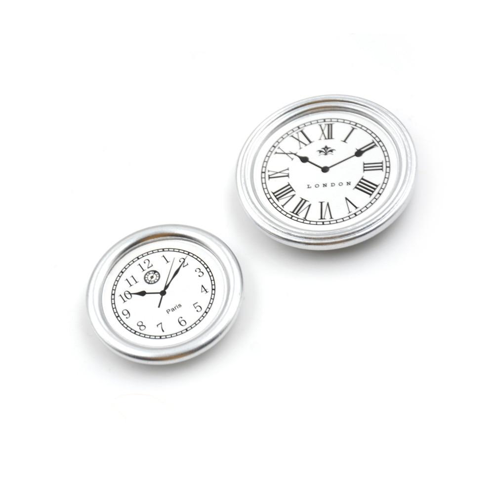 Living Room Dollhouse Miniature Toy 2pcs/set Diameter 3.1cm /3.8cm Silver Wall Clock Pretend Play