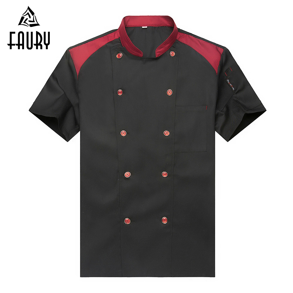 New Arrival Chef Jacket Uniform Unisex Short-sleeved Double Breasted Kitchen Bakery Restaurant Sushi Waiter Workwear Uniforms
