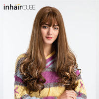 Inhair Cube Long Wavy Grey Wigs 26 Inches Natural Women's Wig Party Heat Resistant Synthetic Fake Hair pieces