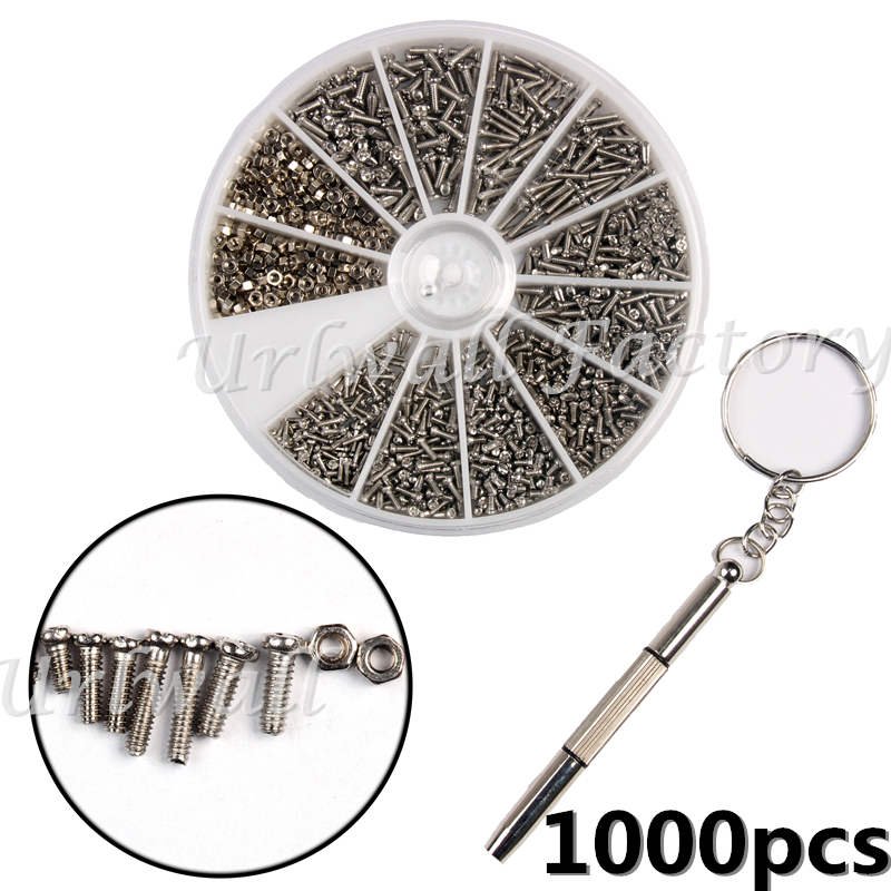 1000Pcs/Set Stainless Steel Screws and Nut set Assortment Kit + 1pc Screwdriver Repair Part Tools For Clock Watch Eye Glasses 8in1 repair opening screwdriver tools set for mobile phone