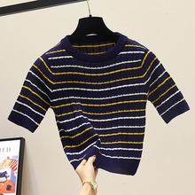 2019 Summer Knitted Striped T-shirt Korean Casual Short Sleeve T Shirt O Neck Slim Crop Top Harajuku Streetwear Women Clothes