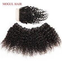 MOGUL волосы 50 г/шт. 4/6 пряди с закрытием Джерри вьющиеся пряди с закрытием натуральный цвет темно-коричневый 10 12 дюймов короткий Боб Стиль