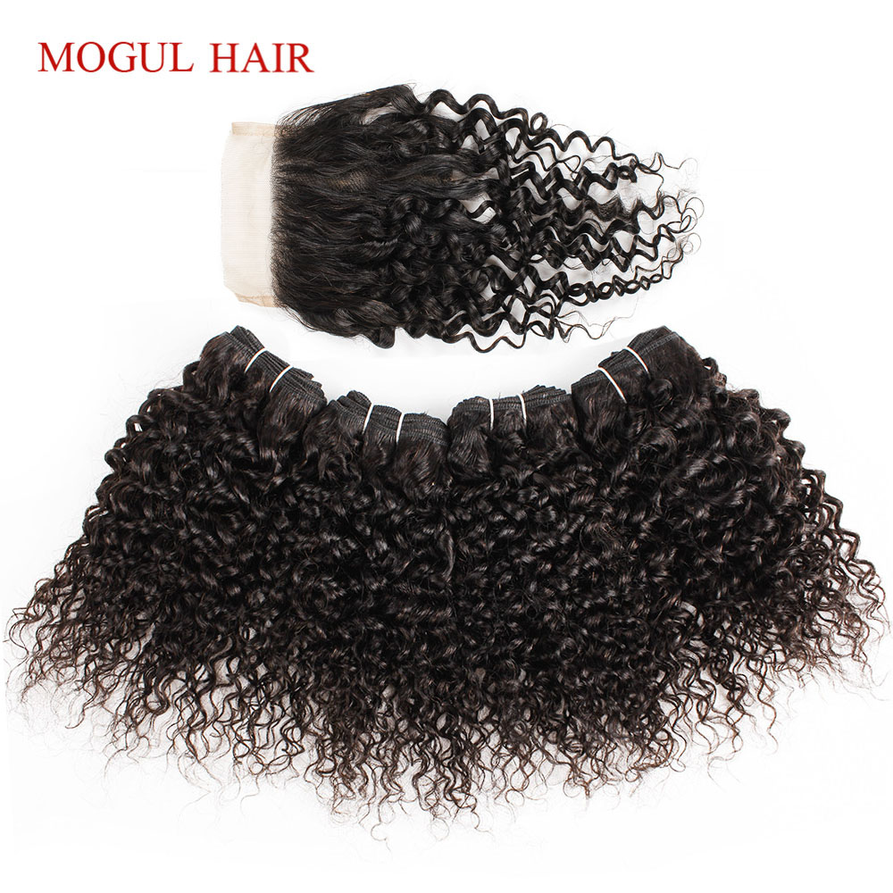 MOGUL HAIR 4 Bundle with Closure Jerry Curly Bundles With Closure 50g/pc Brazilian Remy Human Hair Natural Color-in 3/4 Bundles with Closure from Hair Extensions & Wigs    1