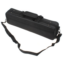 Black Portable Lightweight Flute Cloth Box Case Gig Bag with Shoulder Strap Belt Woodwind Musical Instruments Parts Accessories