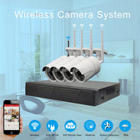 CCTV Wireless IP Network 4CH NVR WIFI Security Camera System Play And Play HD 720P Outdoor