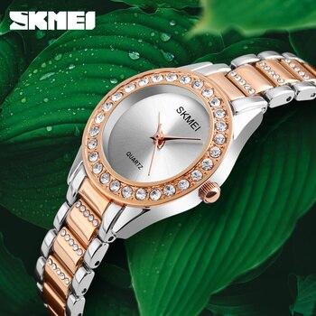 dec7e784760f SKMEI de lujo Crystal pulsera para mujer correa de acero inoxidable reloj  Elegante relojes de cuarzo de oro Simple Relogio Feminino