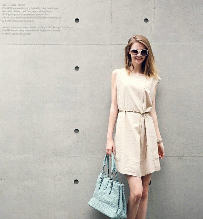 Moda donna rotonda collare abiti di lino senza maniche vestito largo cachi  trasporto Shipping12001784 in Moda donna rotonda collare abiti di lino  senza ... 267f868b4c88