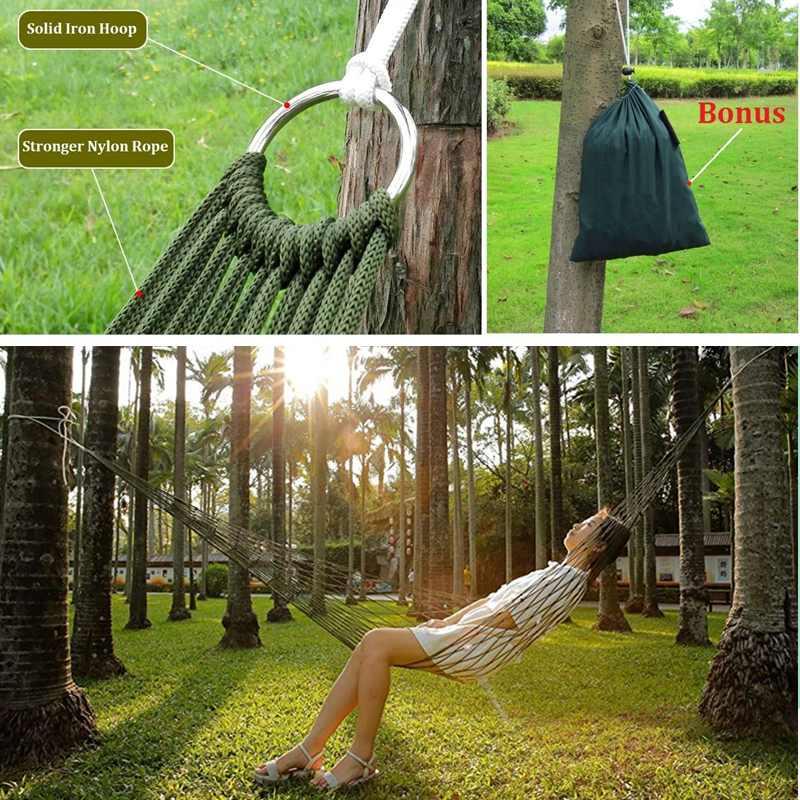 Portable Garden Nylon Hammock Swing Hang Bed Breathable Mesh Net Sleeping Bed Hammock for Garden Outdoor Travel Camping Hammock