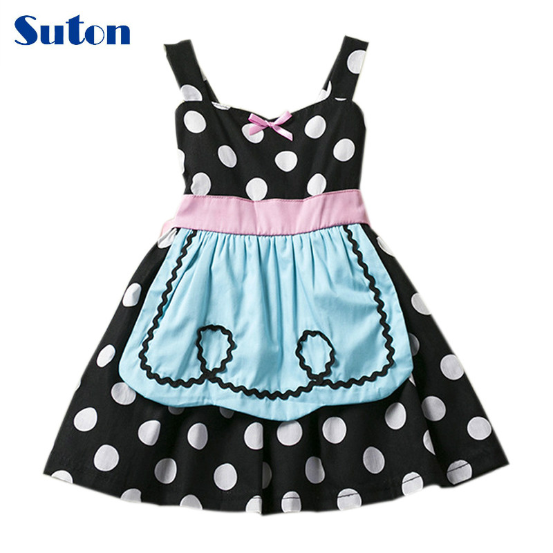 suton Baby Girls Clothes 2018 New Girls Dresses Dot Cotton Cartoon Halloween Princess Cosplay Costumes Toddler Kids Cute Dresses