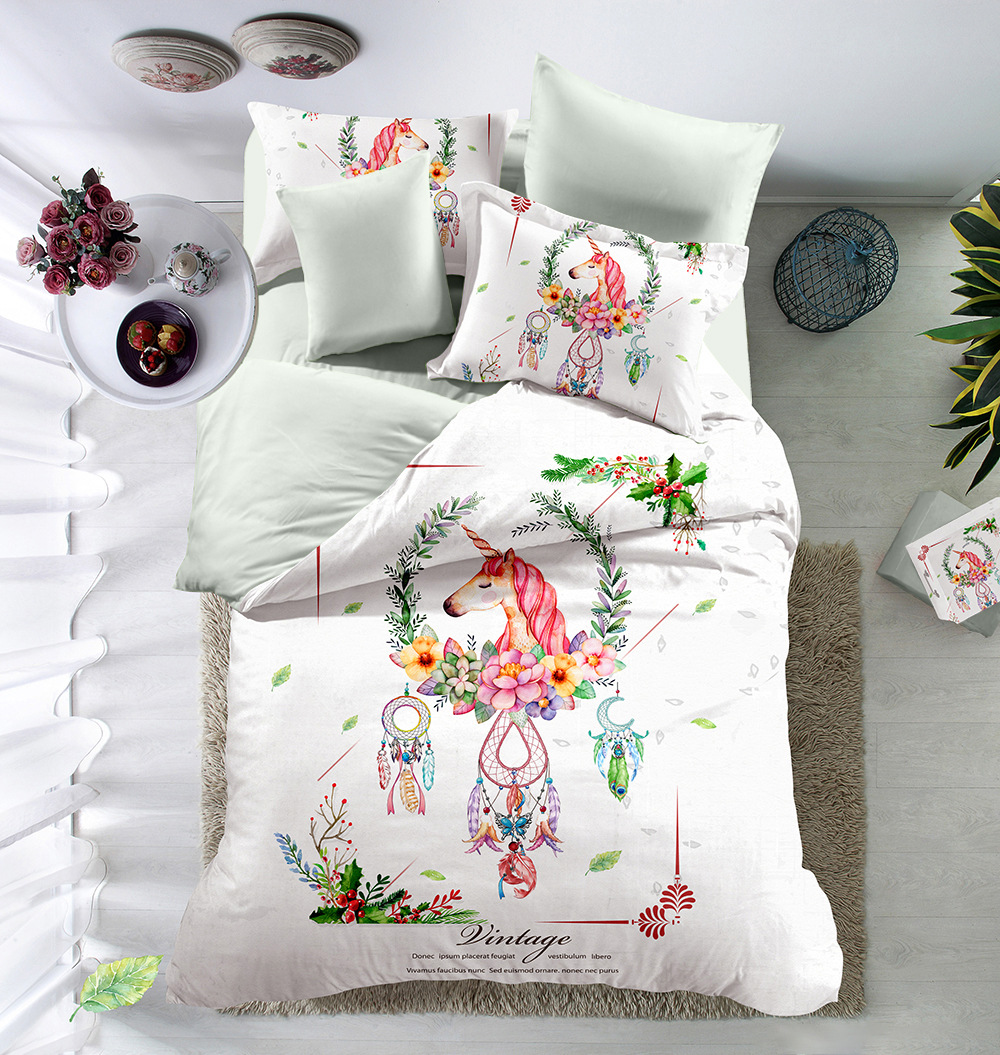 Flowers and Unicorns Bedding Set Children girls love gift Quilt Cover King Queen Home Textiles Flowers and Unicorns Bedding Set Children girls love gift Quilt Cover King Queen Home Textiles