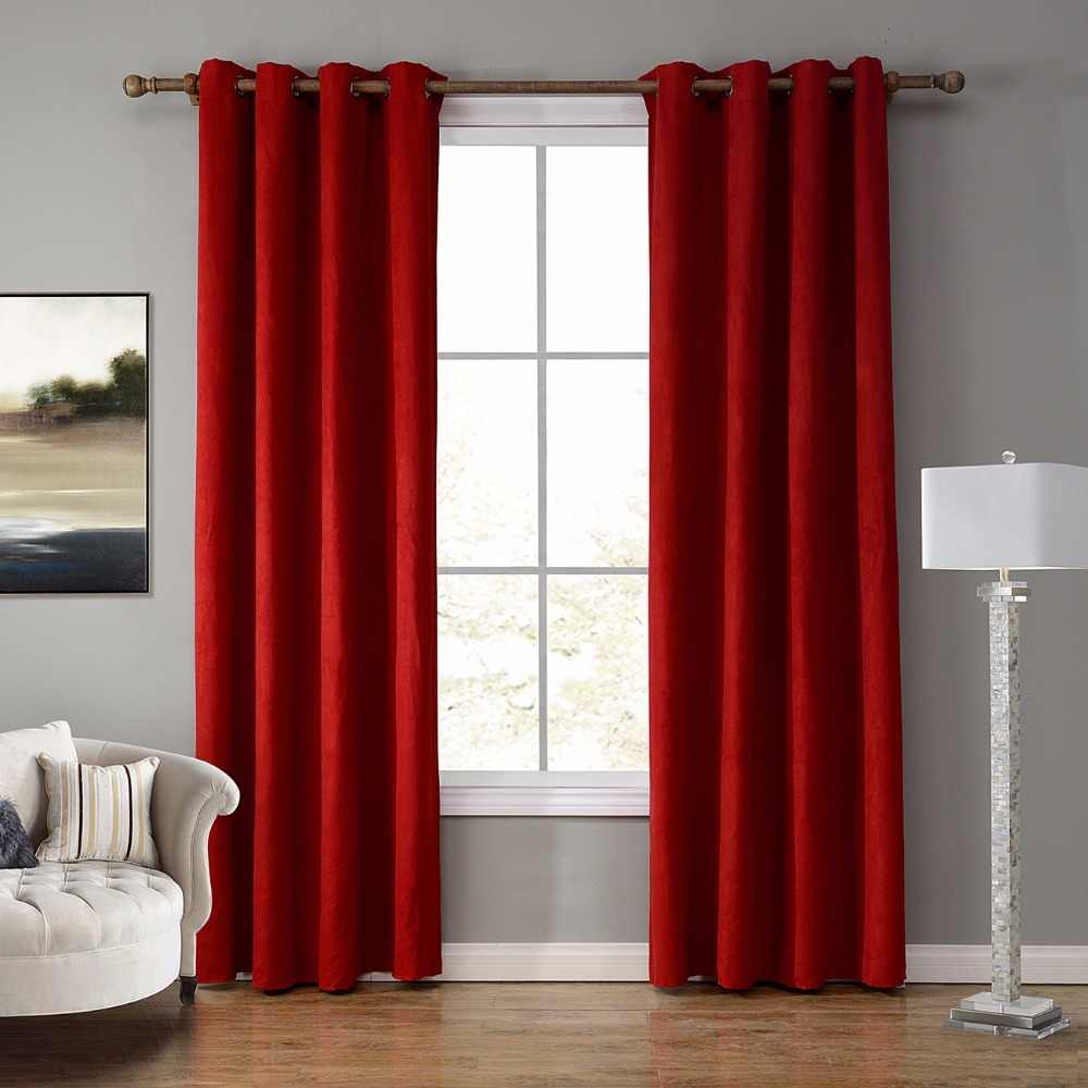 Window Curtain Suede Fabric Grommet Top Design Blackout Drape Panel Curtains For Living Room Christmas Decoration