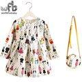 2-8years Vestido + Saco de varejo/set New Bonito Crianças Baby Girl Verão Primavera Outono da Longo-Luva Princesa Perfume Coelho flor 2016