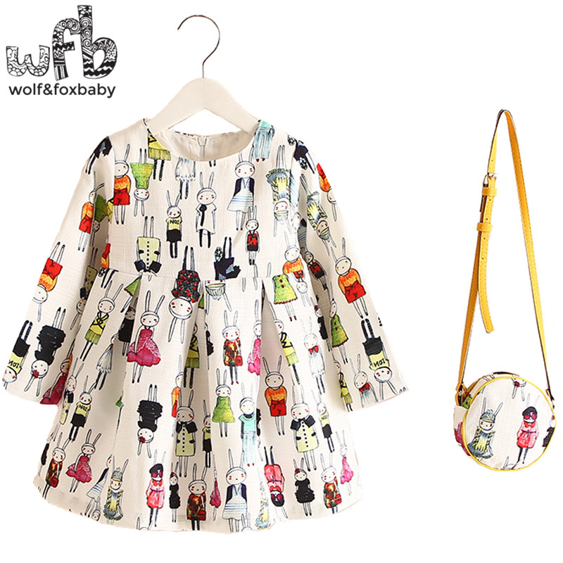 Retail 2-8years Dress+Bag/set New Cute Kids Baby Girl Summer Spring Fall Long-Sleeve Perfume Princess Flower Rabbit 2016 2 10yrs girls dress kids princess dress long sleeve baby girl cute palace style blue and white floral embroidery spring 2017 new