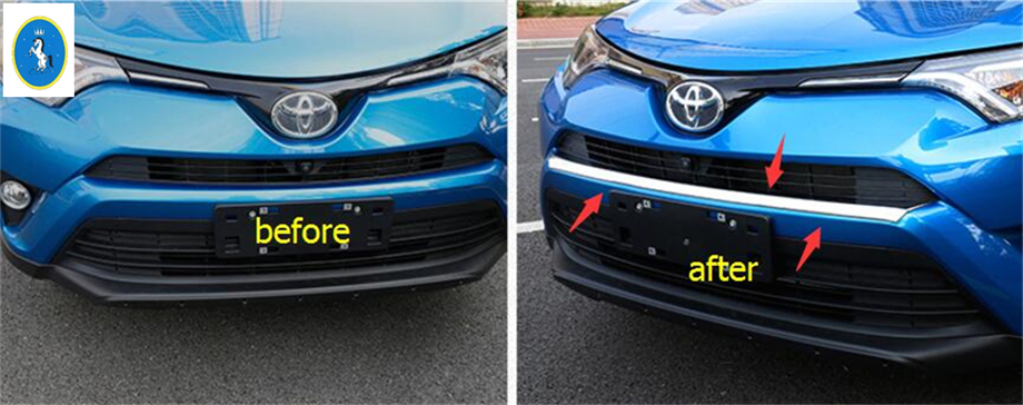 Yimaautotrims Accessories Front Face Under Bumper Protection Panel Cover Trim 1 Piece For TOYOTA RAV4 RAV 4 2016 2017 2018 lapetus accessories for toyota rav4 rav 4 2016 2017 2018 console central air condition ac outlet vent molding cover kit trim