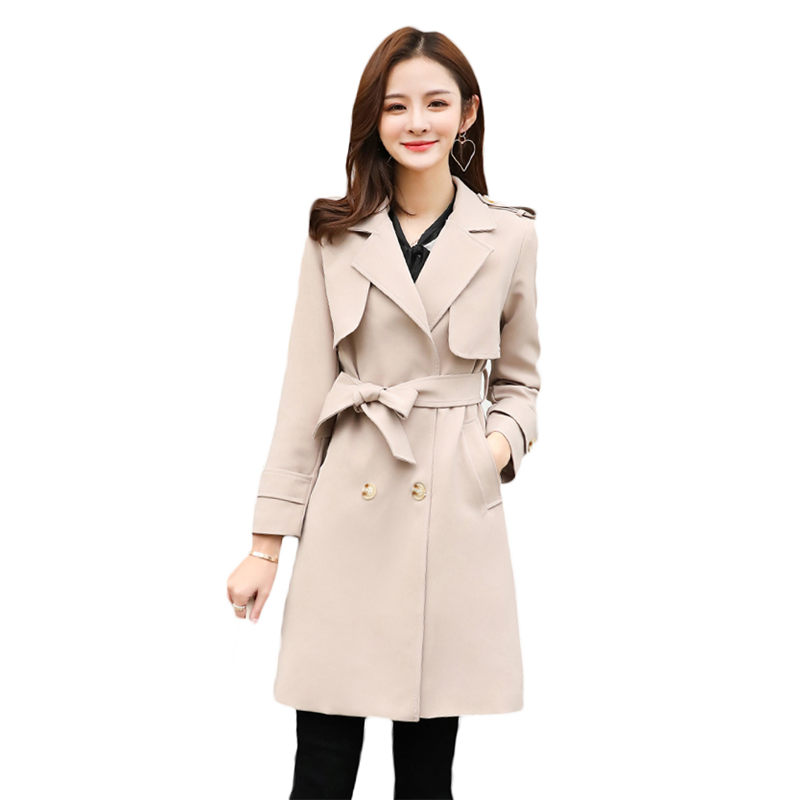fashion Double-breasted Long Trench Coat Women Large Size 5XL 2019 Spring Autumn Suit Slim Long Sleeve Women Windbreaker X486