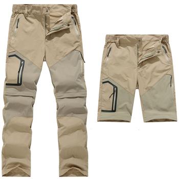 Letnie odpinane spodnie podróżne męskie wodoodporne spodnie do wędrówek pieszych szybkie suche sportowe elastyczne spodnie wędkarskie trekkingowe tanie i dobre opinie Pełnej długości Camping i piesze wycieczki NYLON Poliester Zipper fly Moc suche hiking pants women summer Pasuje prawda na wymiar weź swój normalny rozmiar