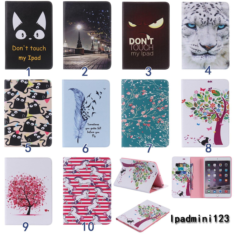 Kartun Bunga pohon Lukisan PU Kulit Balik dompet Kasus Untuk Apple iPad Mini 1 2 3 Kasus Berdiri Penutup Untuk ipad Mini 1 mini 2 3 di Tablets & e Books