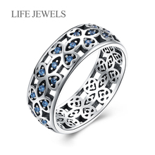 Authentic 100% 925 Sterling Silver Love Blue Zircon Rings Charm l Women Luxury Valentines Day Gift Jewelry