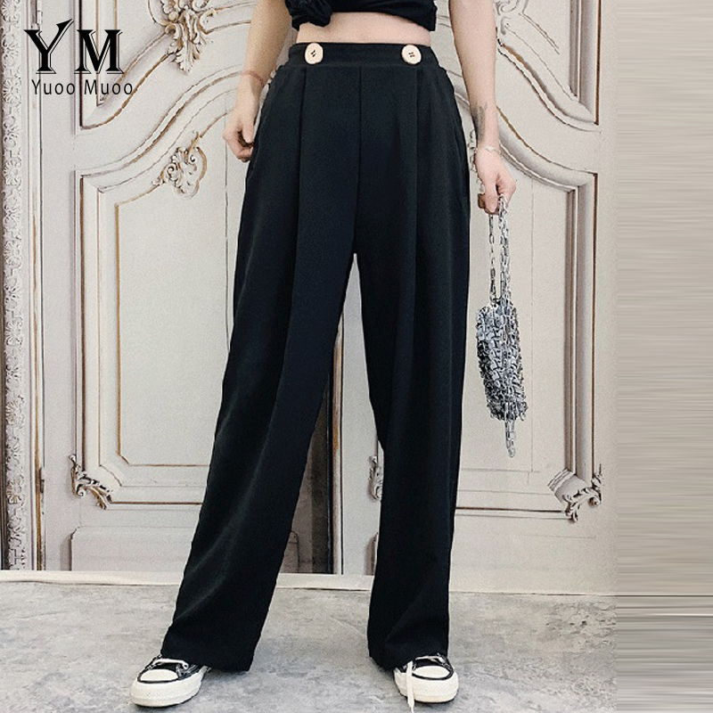 YuooMuoo Hot Two Buttons Wide Leg Pants Summer 2019 Women Elastic High Waist Black Pants Trousers Vintage Pocket Office Pants