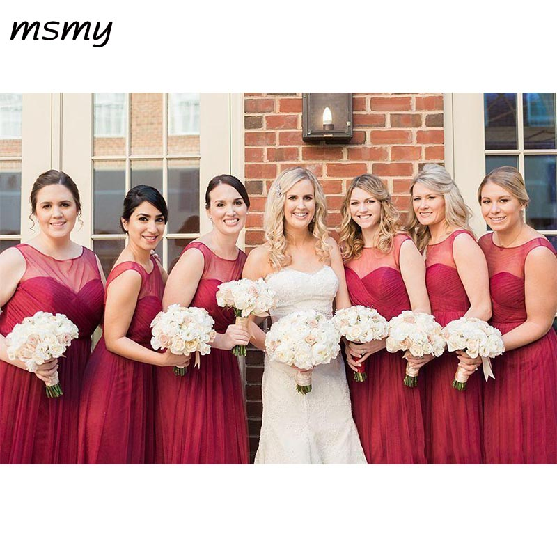 Cheap Burgundy   Bridesmaid     Dresses   Jewel Neck Illusion Tulle Long Summer Beach Hollow Back Plus Size Wedding Maid of Honor