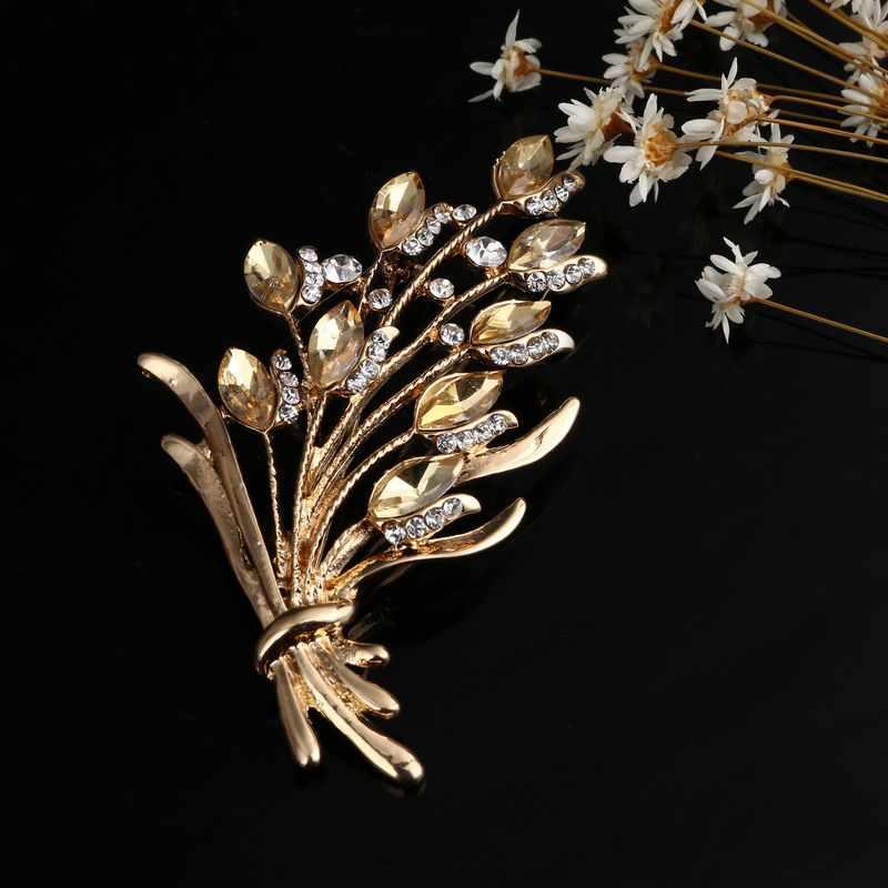 Elegante Fiore Spilla Spille Monili Di Costume di Cristallo Abbigliamento Accessori Gioielli Spille Per La Cerimonia Nuziale In Oro Spilla Spilli Gioielli