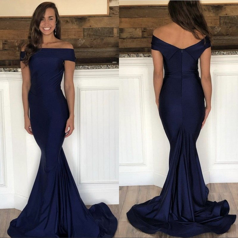 Navy Blue Boat Neck Off The Shoulder Mermaid Court Train Satin Pleated   Prom     Dresses   Party Gown For   Prom