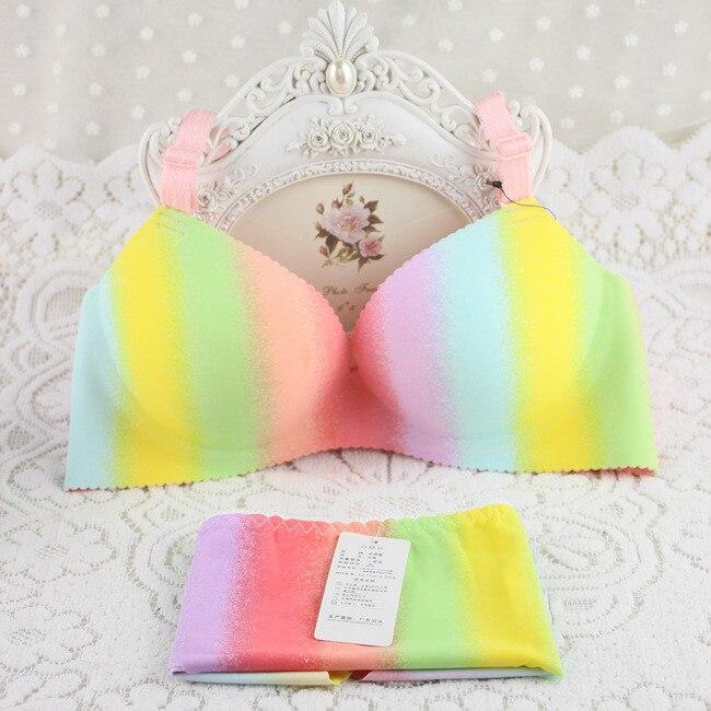Buy Free shipping 5101# Seamless rainbow stripes sexy lingerie underwear gather small chest pop style bra set