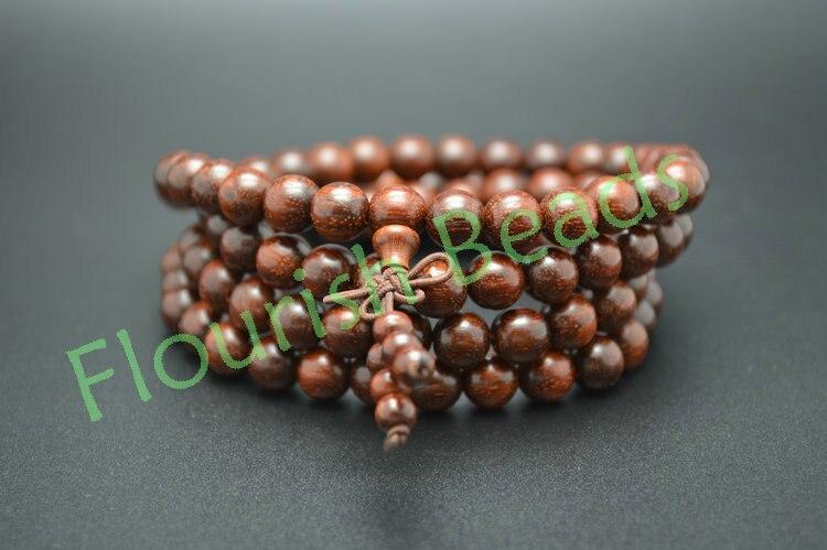 Tibétain 8mm indien Pterocarpus Santalinus bois 108 perles rondes Mala prière multi-rangs Bracelet collier bijoux