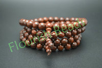 Tibetan 8mm Indian Pterocarpus Santalinus Wood 108 Round Beads Mala Prayer Multirow Bracelet Necklace Jewelry