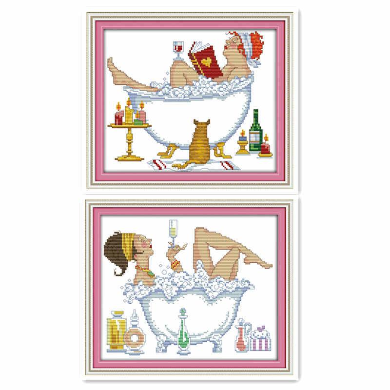 Европейский стиль Купание красота неторопливо жизнь красивая картина ручная вышивка крестиком мебель Украшение подвесная картина