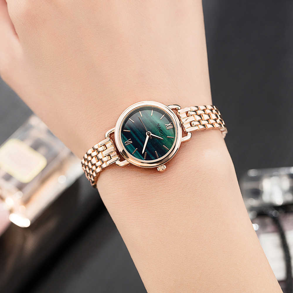 Women's Clock Ladies Fashion Simple Stylish Marble Mirror Dial Watches Women Simple Stainless Steel Casual Wrist Watch