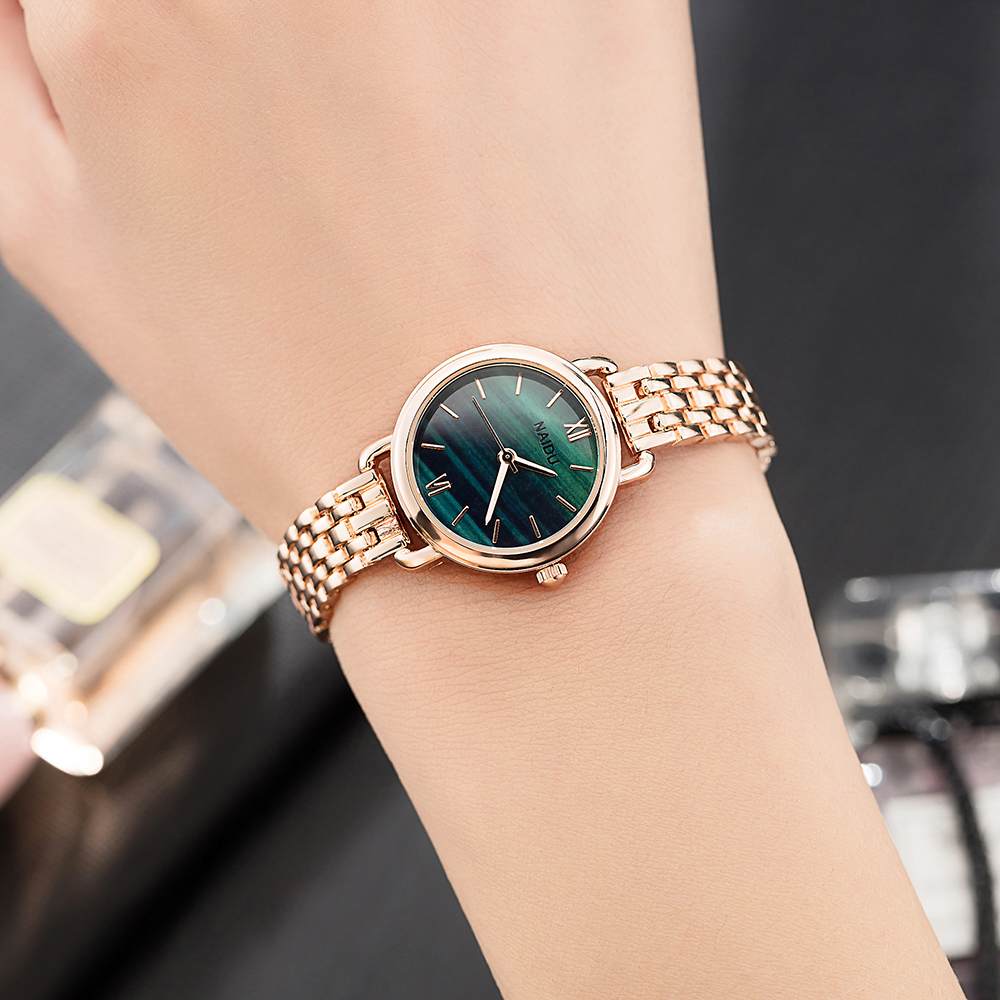 Women's Clock Ladies Fashion Simple Stylish Marble Mirror Dial Watches Women Simple Stainless Steel Casual Wrist Watch Top Hot