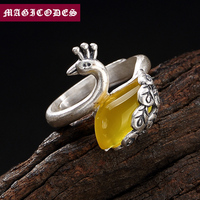2019 Adjustable Ring 100% Real 925 Sterling Silver fine Jewelry Women Mosaic Chalcedony Red corundum Peacock Wedding Ring YR13