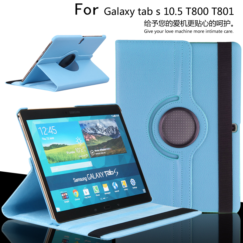 360 Degree Rotating Case Leather Cover For Samsung Galaxy Tab S T800 T805 10.5 inch Tablet Protective Case for samsung galaxy tab s 10 5 inch tablet t800 t805 2 in 1 removable wireless bluetooth abs keyboard leather stand case cover