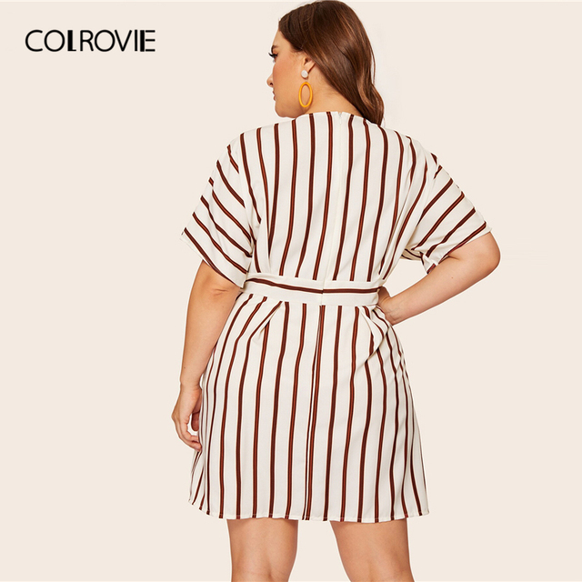COLROVIE Plus Size Beige Deep V-Neck Striped Dress Women 2019 Summer Boho Short Sleeve A Line Office Ladies Fit And Flare Dress 1