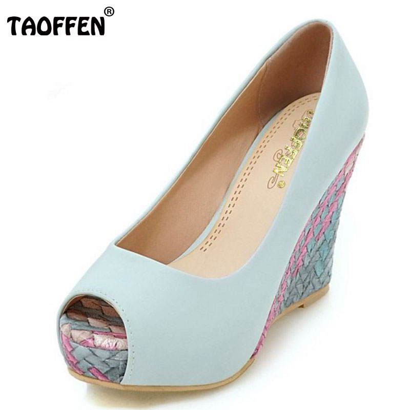 TAOFFEN Women Shoes Women High Heeled Shoes Peep Toe Platform Wedge Pumps Concise Elegant Party Stiletto For Female Size 34-43 taoffen women high heels shoes women thin heeled pumps round toe shoes women platform weeding party sexy footwear size 34 39