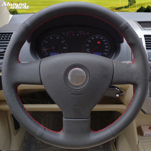 Shining wheat Hand stitched Black Leather Steering Wheel Cover for Volkswagen Old VW Golf Polo Sagitar