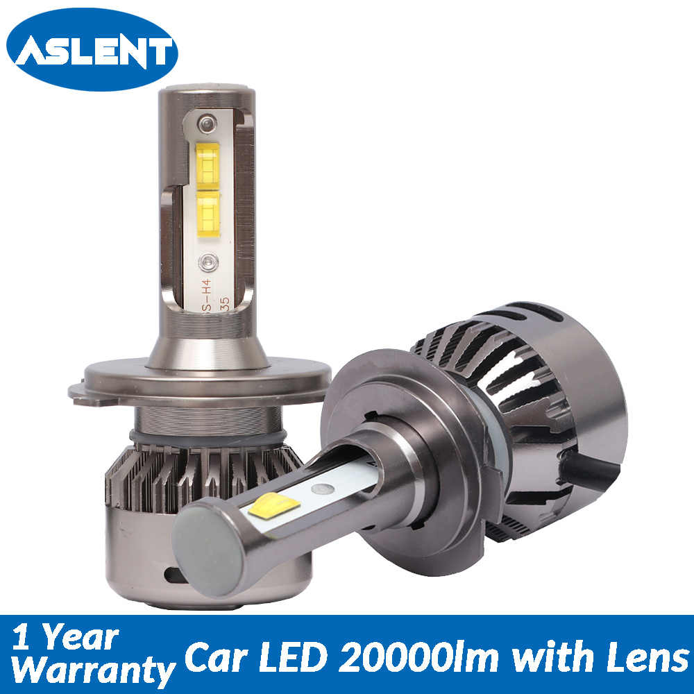 Aslent New H7 LED Lens 55W/bulb 20000LM 6500K Canbus Error Free H4 H11 H8 H1 HB3 9005 HB4 9006 for Auto lights Car Headlight 12v