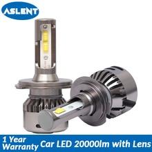 Aslent New H7 LED Lens 55W/bulb 20000LM 6500K Canbus Error Free H4 H11 H8 H1 HB3 9005 HB4 9006 for Auto lights Car Headlight 12v стоимость
